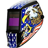 Antra Welding Helmet AH7-360-7318 Auto Darkening, Dual Power Solar+ Battery, Wide Shade Range 4/5-9/9-13 with Grinding 6+1 Extra Lens Covers Stable for TIG MIG MMA Plasma
