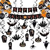 ALTcompluser Halloween Deko Grusel Set, Halloween-Alphabet-Banner, Mit 30 Latexballons, Spiralornament auf Spinne, Kürbis, Hexe, Fledermaus, Schwarze Katze, Grab, für Yard, Haunted House, Party Deko