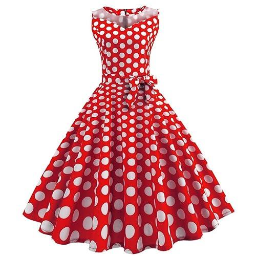 92f7e82de85f Wawer Vintage Summer Dresses for Women,40's/50's Vintage Swing Dress,  Casual Retro