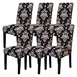 Mecerock Fit Stretch Jacquard Removable Washable Short Dining Chair Covers Seat Slipcover for Hotel,Dining Room,Ceremony,Banquet Wedding Party (6, STKHEI)