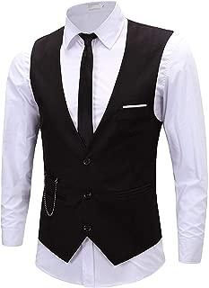 Mens Fashion Solid Tuxedo Vest Slim Fit Casual Sleeveless Suit Waistcoat