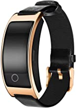 Smart Watch with Heart Rate, Blood Pressure, Blood Oxygen Monitor, Sleep Monitor, Calories Consumption, Modern Sport Bracelet with Soft Leather Strap,Gold