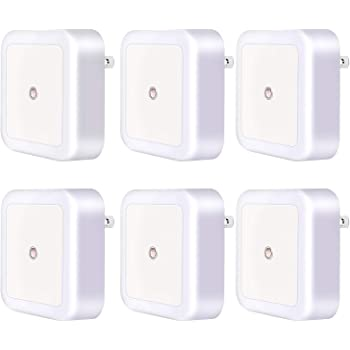 Night Light, Night Lights Plug into Wall with Auto Dusk to Dawn Light Sensor LED Night Light Guide for Bedroom Bathroom Toilet Stairs Kitchen Hallway 6- Pack White
