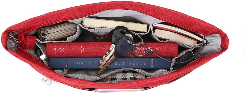Joqixon Handbag Organiser Insert with Zip Liner for Handbag Tidy Small Lightweight Tote Bag Organiser for Travel Shopping