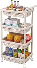 YAeele Multifunctionele Shelf Kunststof 4-Layer Mobile Trolley met planken Organizer badkamer opberg rekken (gebroken wit,...