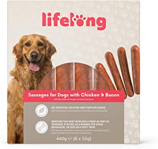 Marchio Amazon - Lifelong - Snack per cani, Salsicce Hot Dog pollo e bacon , 440 gr (8 pezzi)