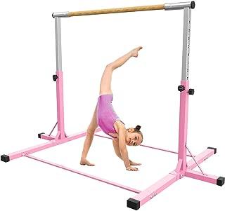 SHIWEI Gymnastics Training Bar for Kids,Height Adjustable Gymnastics Equipment,Horizontal Kip Bar 3ft-5ft