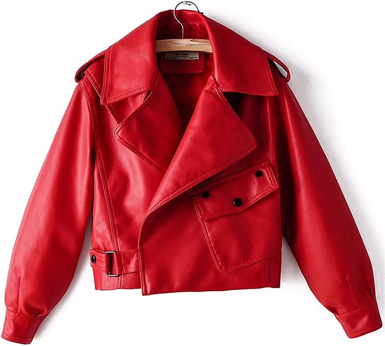 Women Over item handling ☆ Factory outlet Faux Leather Jacket Pu Motorcycle Beige Coat Biker