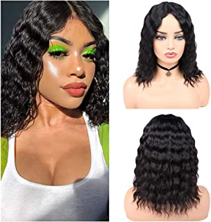 Quantum Love Loose Deep Wave Lace Part Brazilian Human Hair Wigs Middle Part Bob Wig Glueless Natural Black Color Virgin Human Hair Wig