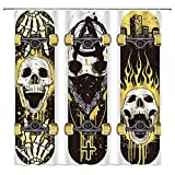 Skateboard Duschvorhang Flamme Totenkopf Feuer Punk Rocker Skelett Jungen Cool Street Sport Graffiti Skateboards Doodle City Skater Stoff Badezimmer Vorhang-Set 183 x 183 cm mit Haken