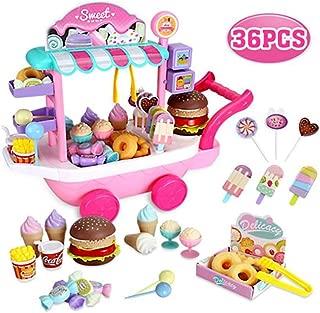 36PCS Kids Ice Cream Truck Food Cart Desktop Toy Pretend Play Food Set for Kid Age 3+