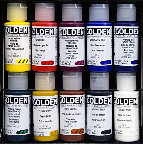 GOLDEN Fluid Professional - Acrylfarben, 10 Flaschen 30 ml