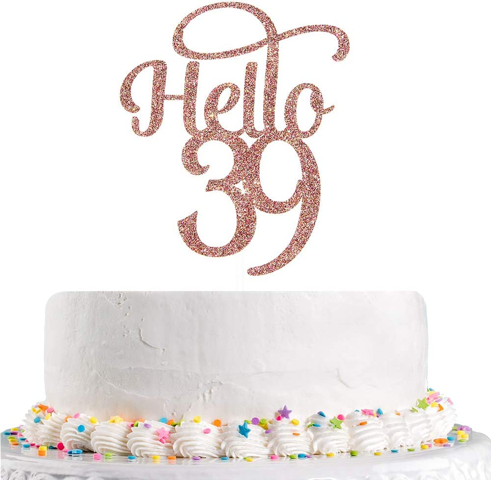 55% OFF Talorine Glitter Hello 39 Cake High quality Topper 39th Birthday for Top