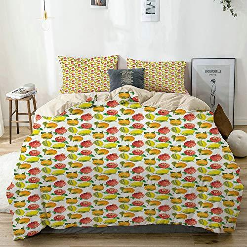 MANISENG Bettwäsche-Set,Beige,Vitamin C-Muster der orange Granatapfel-Saisonzitrone,1 Bettbezug 240x260 + 2 Kopfkissenbezug