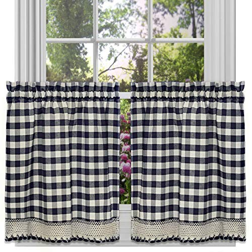 GoodGram Buffalo Check Plaid Gingham Custom Fit Farmhouse Café Styled Window Tier Curtain Treatments - Assorted Colors & Sizes (Navy Blue, 24 in. Length)