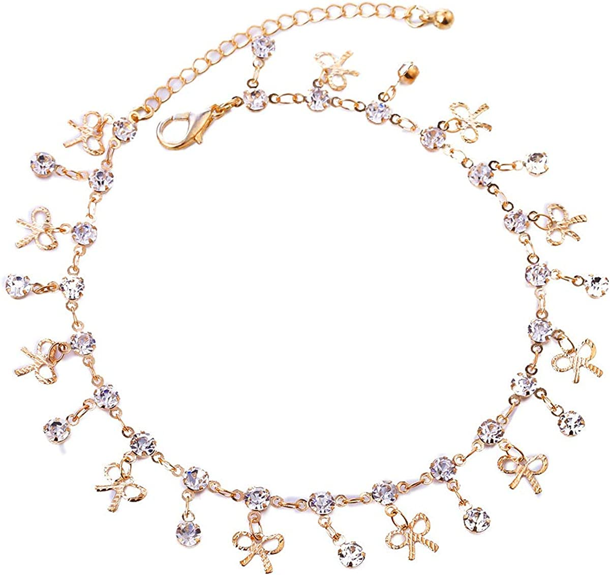 YOOE Geometric Circular Zircon Crystal Bowknot Tassels Anklet,Summer Beach Hollowing Handmade Bowknot Ankle Chain for Women Girls Birthday Gifts