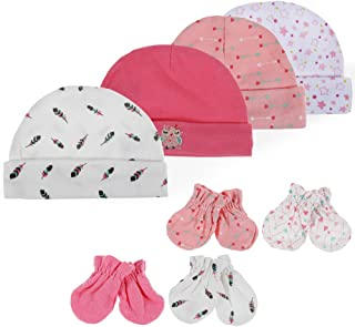 Lictin Newborn Baby Cotton Caps Mittens - 100% Cotton 4pcs Baby Cotton Caps Hats and 4 Pairs Baby Scratch Mittens Gloves for Baby Girl 0-6 Months (Pink)