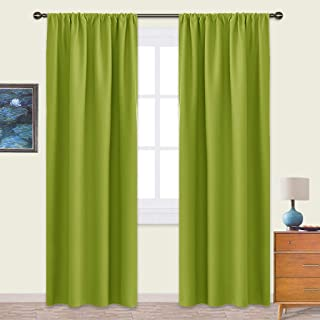NICETOWN Blackout Curtains Panels for Living Room - Thermal Insulated Solid Rod Pocket Top Blackout Curtains/Drapes for Kid's Room (1 Pair,42 x 84 Inch,Fresh Green)