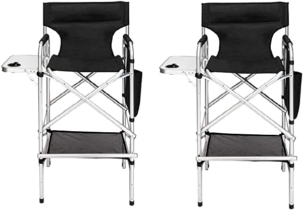 Mefeir 2PCS Upgraded Director Makeup Artist Chair Bar Height Aluminum Frame Supports 300 Lbs Folding Portable With Side Table Storage Bag Black
