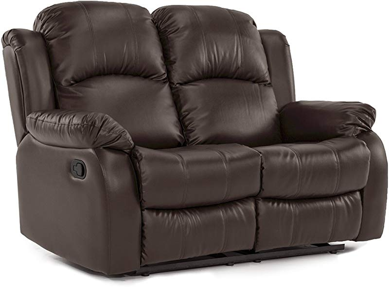 Divano Roma Furniture Classic And Traditional Bonded Leather Recliner Loveseat 2 Seater
