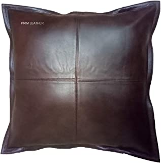 Prim Leather 100% Lambskin Leather Pillow Cover - Sofa Cushion Case - Decorative Throw Covers for Living Room & Bedroom - Box Brown - 18 x 18 Inches Pack of 1