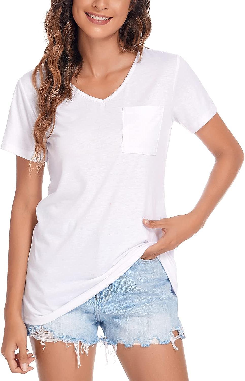 Beyove Women's V Neck T-Shirt Short Sleeve Casual Summer Tops with Pocket Tees