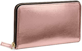 DailyObjects Durable Slim Portable Multipurpose Faux Leather Metallic Zipper Classic Wallet for Girls/Women (Color - Rose Gold)