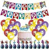 BESTZY Alice in Wonderland Palloncino Decorazioni di Compleanno Principesse Party Decorazione Includere Cake Topper Banner Palloncini Bambini Feste di Forniture 38 Pcs