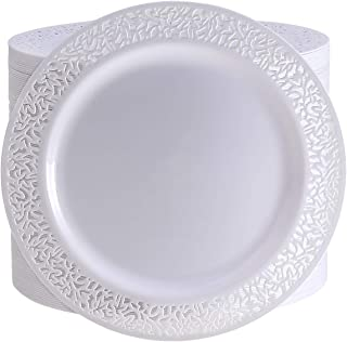 72 Pieces White Plastic Dinner Plates, 10.25 inch Lace Design Disposable Lunch Plates, Safe & Reusable and Ideal for Weddings & Party