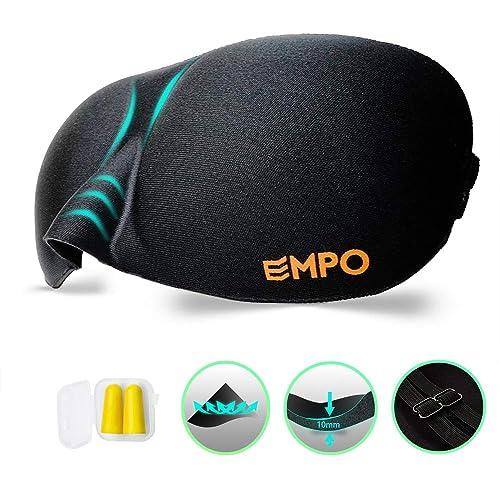 EMPO Schlafbrille Weich Memory-Schaumstoff Augenmaske - komfortabel verstellbare Gurte für alle Kopfgrößen - Hilft bei Schlaflosigkeit, perfekt für Reisen, Schichtarbeit und Meditation - Schwarz