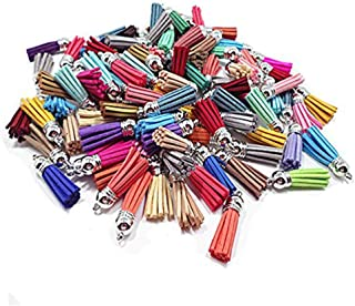 Mydio 100 Pack 38mm Mixed Color Suede Leather Tassel with Silver Caps for Key Chain Straps DIY Accessories