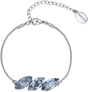 Mestige MSBR3293 Rhodium Plated Blue Claire Charm Bracelet for Women