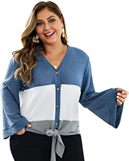 BaronHong Women Loose V Neck knitting Blouse Shirt Elegant Button Down Tops