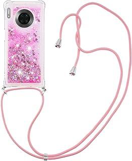 Flytande kvicksand silikon TPU stötfångare skal (med snodd )för Huawei P30 Pro(rosa kärlek)