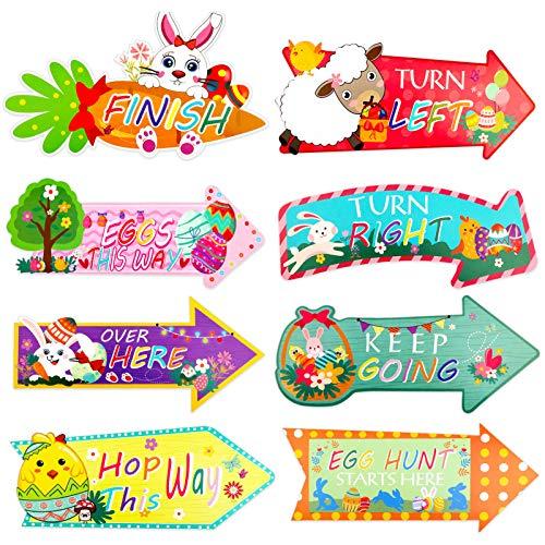 HOWAF 16 flechas de caza de Pascua para fiestas infantiles, decoración del hogar, jardín, caza de huevos de Pascua, accesorios de juego, diversión familiar, señal de caza de Pascua, direccione