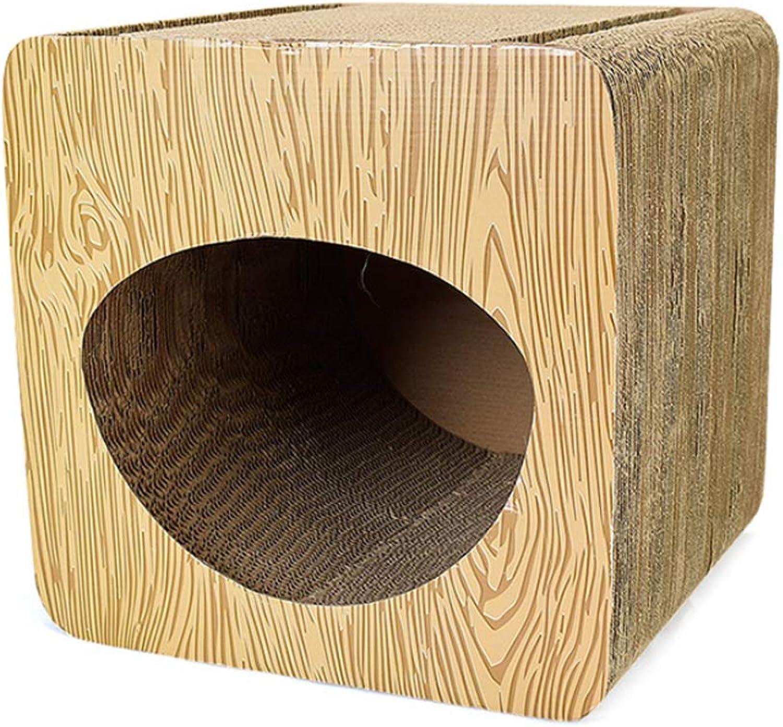 NDY Pet Toy Cat Brown Hollow Cat Ramp Paper Claw Cutter Square Corrugated Paper Cat Scratch Board
