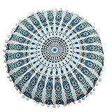 LuckyGirls Kissenbezug 43 x 43 cm Indische Mandala Boden Kissen runde böhmische Kissen Abdeckung...