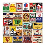 24 pcs Reproduced Vintage Tin Signs, Gas Oil Beer Metal Sign for Home Bar Garage Man Cave, 8x12 in (A)