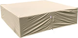 Dola Outdoor Sectional Cover Waterproof Square Patio Furniture Cover Heavy Beige 100% Polyester Fabric 98-Inches with Buckles, Straps and Breathing Mesh