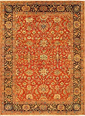 Amazon Com Pasargad Mahal Collection Hand Knotted Rust Brown Wool Area Rug 14 X 17 Furniture Decor