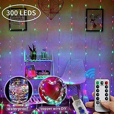 LOBKIN 300 LED Window Curtain String Light Fair...