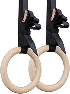 Gym Rings, Wood Gymnastic Rings 1100lbs with 9ft Adjustable Straps, Heavy Duty Gym Equipment for Cross-Training Workout, S...