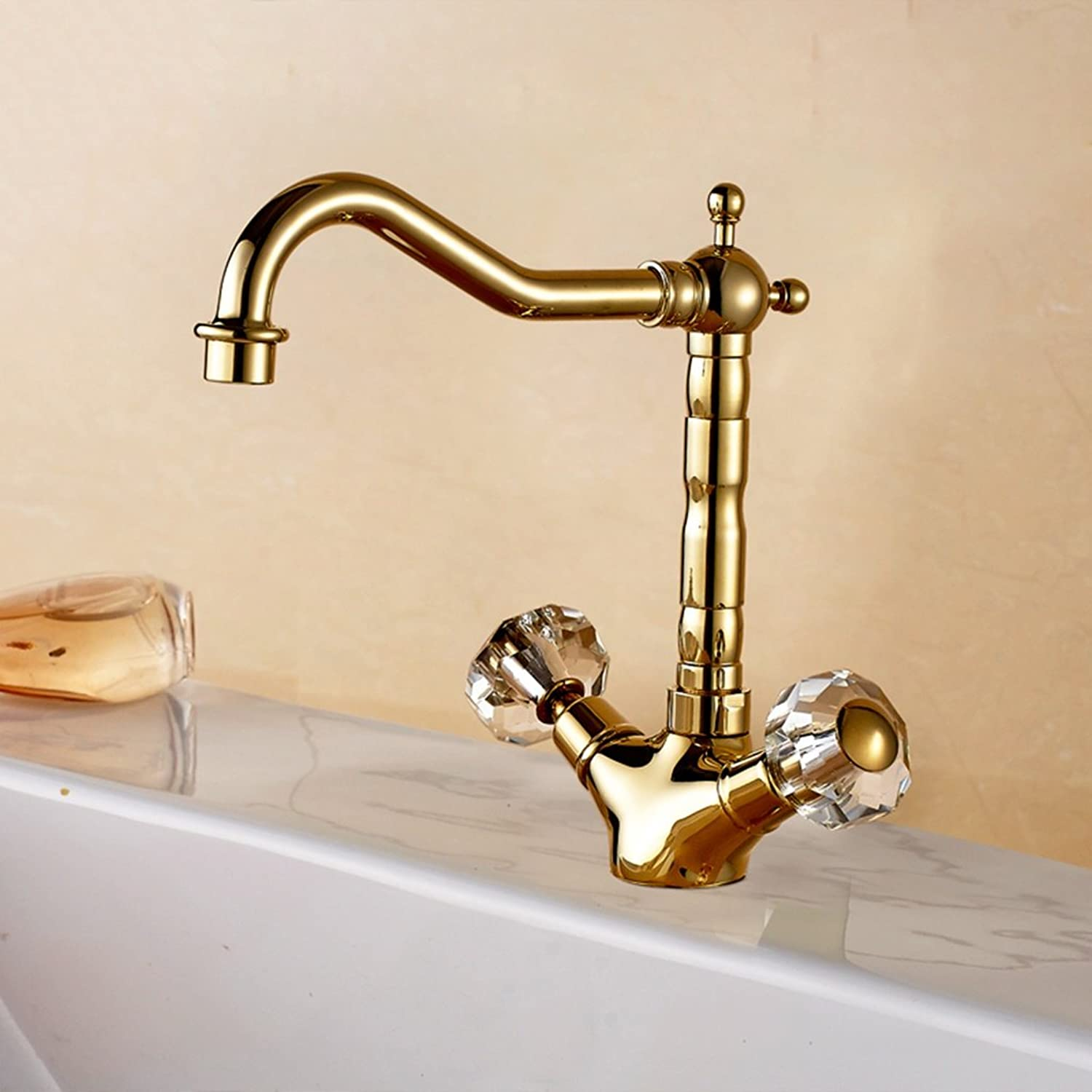 Cqq faucet Full copper European style gold-plated single-hole hot and cold faucet Bathroom crystal faucet Hot and cold faucet ( Size   1722cm )