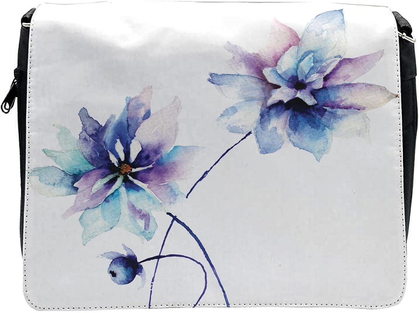 Ambesonne Floral Cross Body Messenger Bag, Retro Flowers Watercolor, Unisex