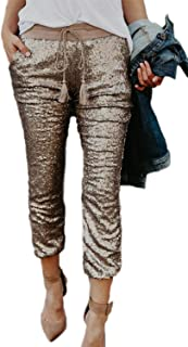 07aceae30922d4 Simgahuva Women Sequin Ankle Pants Elastic Waist Stretchy Cropped Leggings