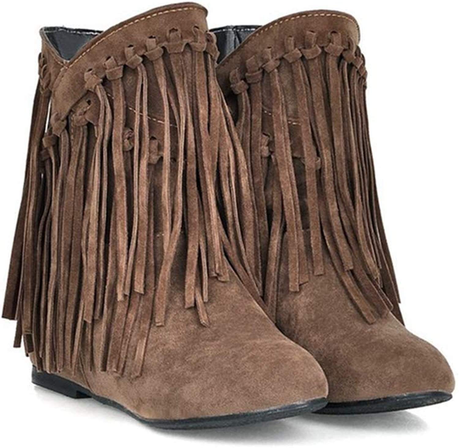 Beautiful - Fashion Women's Winter Suede Fringed Ankle Boots Fashion Low Wedge Heel Booties Tassels Dressy Short Boots