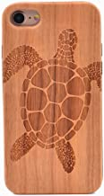 iPhone 6S Case Sea Turtle Pattern Wood Case Handmade Carving Real Wooden Case Cover with Rubber Case Back for Apple iPhone 6,iPhone 6S