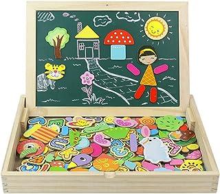 JVY Puzzle Magnetico Niños 165 Piezas de Madera Pizarra Magnética Infantil con Rompecabezas Caja Juguete Educativo Puzzle de Animales Regalos Juguetes Niños 3 Años