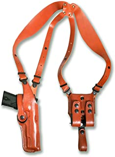 Premium Leather Vertical Shoulder Holster System with Double Magazine Carrier for Ruger 9E 9mm 4.14''BBL, Right Hand Draw, Brown Color #1324#