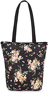 LeSportsac Garden Rose Daily Tote, Style 2432/Color F632, Modern Multi-color Roses on Classic Black Bag, Everyday Carryall...